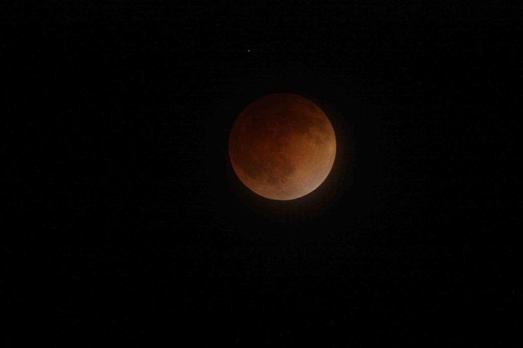 Total lunar eclipse seen in the United States on April 15th, 2014 in San Jose, California.
