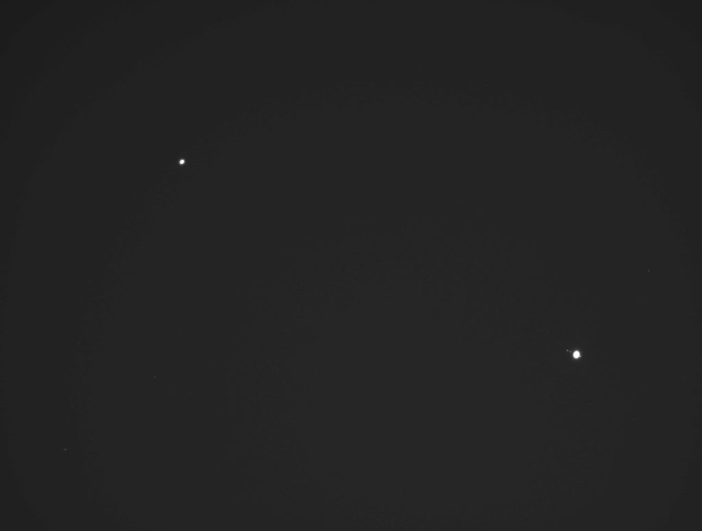 Taken on November 27, 2020, Saturn and Jupiter can be seen drawing closer together in the night sky.
