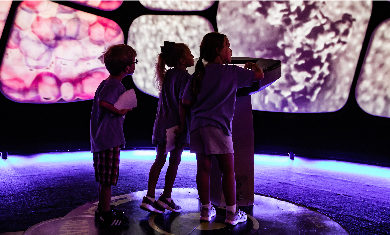 A group of children interacting with the A Universe: A Walk Through Space and Time exhibit.