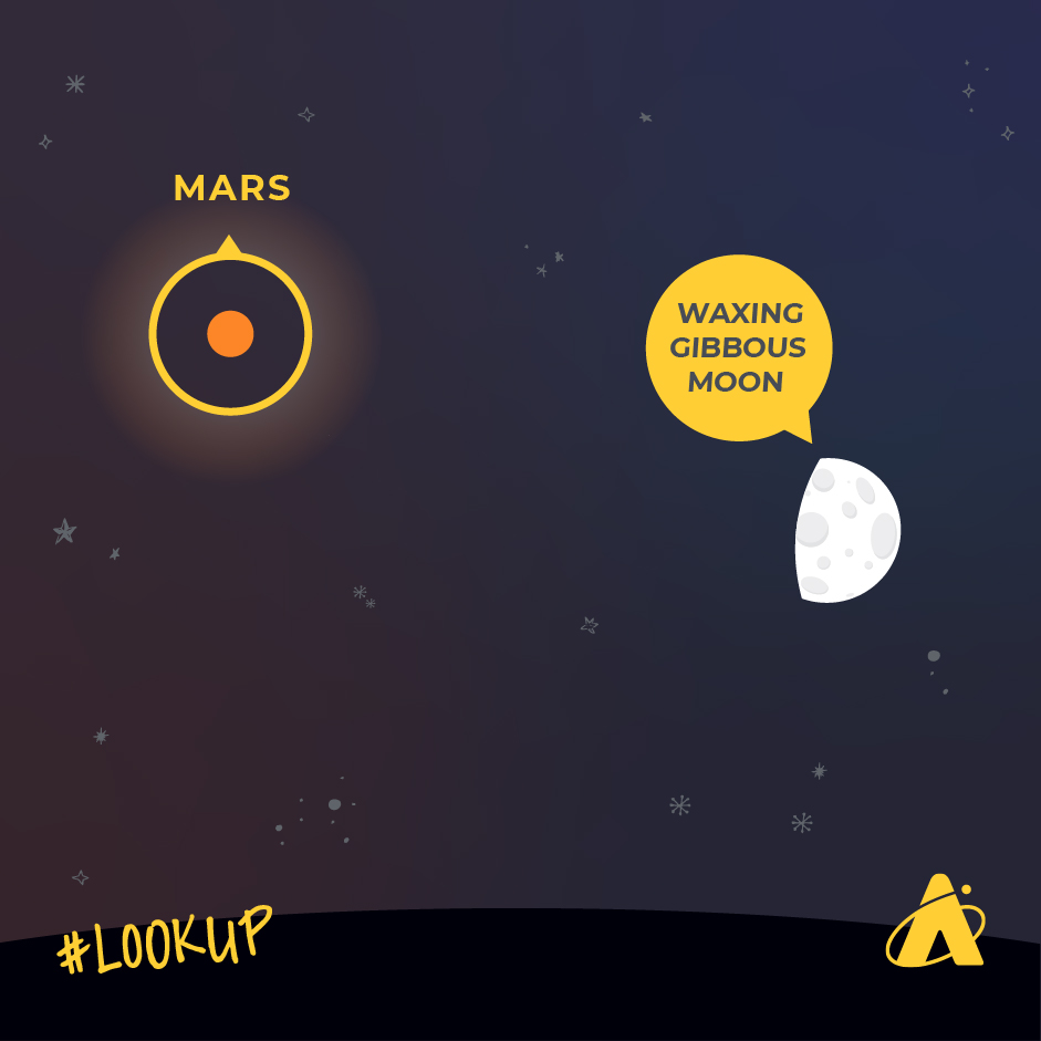 Mars will continue to dim throughout November. On November 24, 2020, look up to see the Moon and Mars.