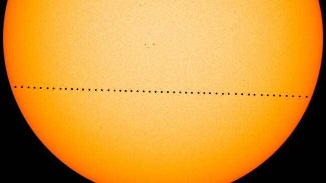 Composite image of the transit of Mercury as seen from Earth on May 9, 2016.