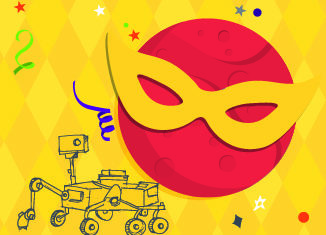 Mars-di-Gras event image featuring Mars wearing a mask and a Mars rover illustration