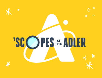 Yellow background with white Adler monogram A and Scopes at the Adler text