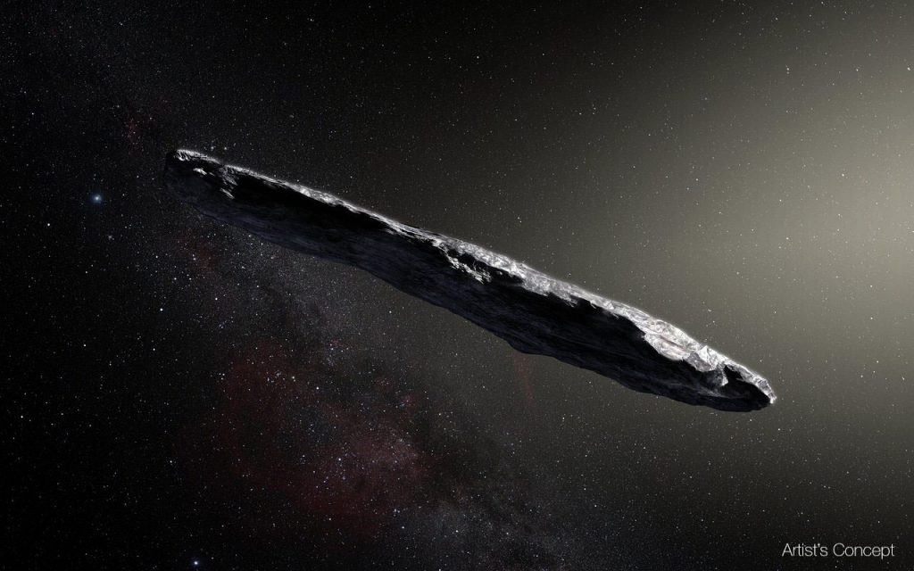 Artist concept of the interstellar object known as 'Oumuamua