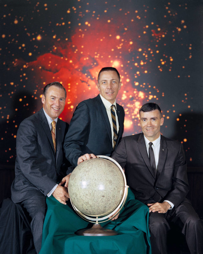(From left to right) Mission Commander Jim Lovell, Command Module Pilot John Swigert and Lunar Module Pilot Fred W. Haise, make up the Apollo 13 crew.