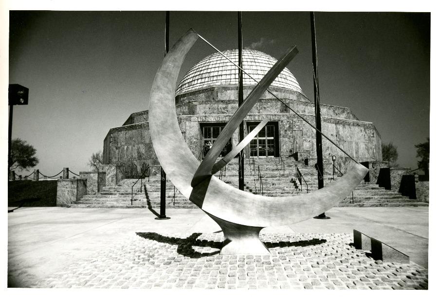 Adler Planetarium exterior with sundial
