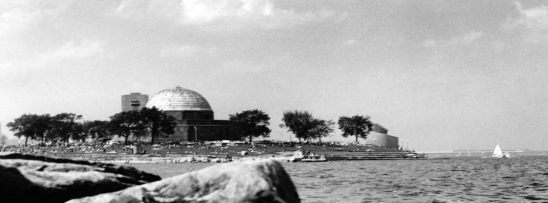 Black and White photo of the Adler taken in the 1950s from afar at 12th Street Beach.