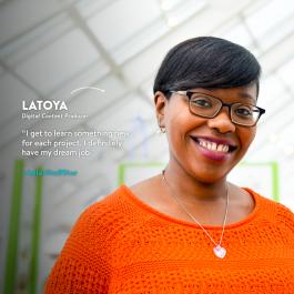 Adler Staff Star Latoya Flowers, Digital Content Producer