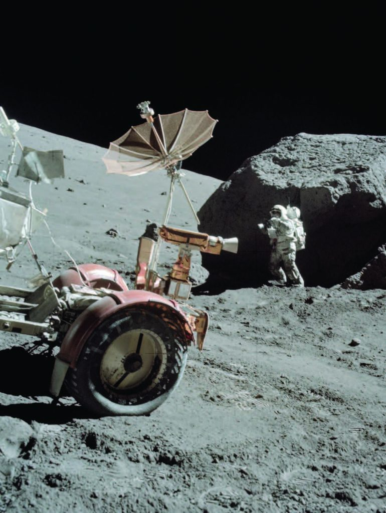 Credit: NASA Harrison Schmidt, the only geologist to land on the Moon, collects rock and soil samples during the final Apollo 17 mission. The lunar rover (repaired with duct tape) is seen in the foreground.