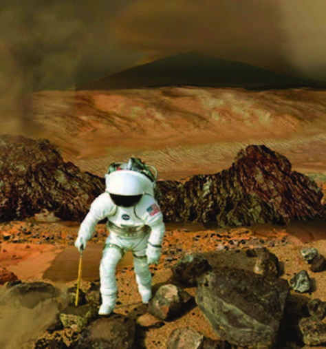 Credit: NASA NASA's Mars exploration strategy is not only aimed at determining whether life ever existed on Mars, but also to prepare for future human journeys to the planet. In this artist's conception, a future Mars explorer collects samples for study.
