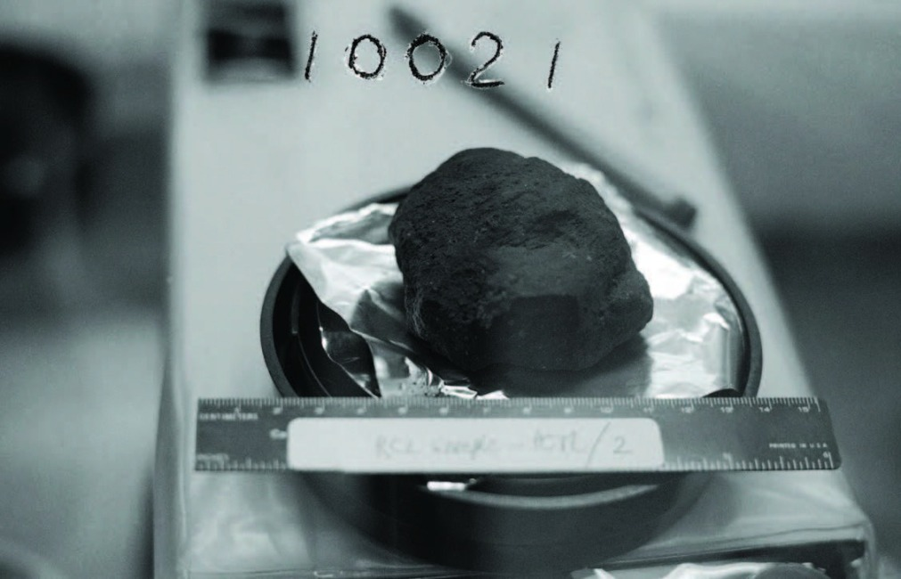 "Credit: NASA This is probably the first Moon rock picked up by Neil Armstrong as part of the ""contingency sample."" Because the collection was so hurried and the documentation sparse, NASA scientists are not completely sure of the identification."