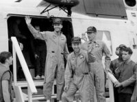 Apollo 13 crew returning home after their ocean landing.