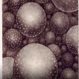 An 18th century artist's illustration of stars in space and the appearance of the Milky Way in the night sky, with large spheres that cover the entire image.