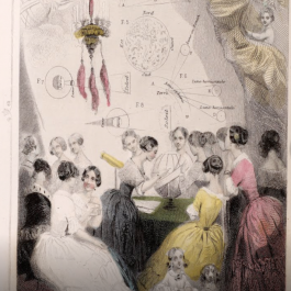 A 19th century illustration of a group of women actively engaging in astronomy.