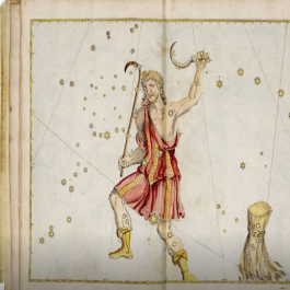 A hand-colored plate that depicts the old constellation of Bootes with a herdsman (holding a Mezzaluna) drawn along its coordinates.