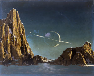 Saturn as seen from Titan Rights: Courtesy of Bonestell LLC