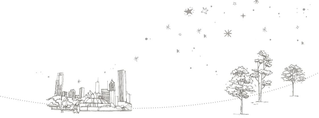 Drawing of Chicago with the stars above