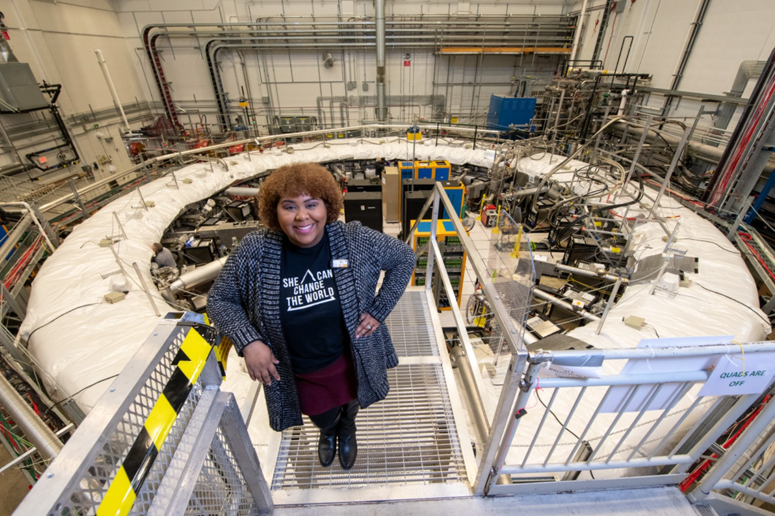 Dr. Jessica Esquivel pictured at the Fermi National Accelerator Laboratory (Fermilab).