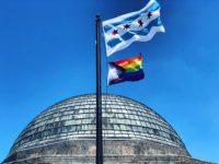 Adler Planetarium flying the Progress Pride Flag in 2019