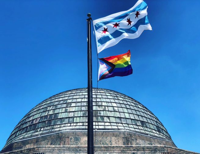 Adler Planetarium flying the Progress Pride Flag in 2019
