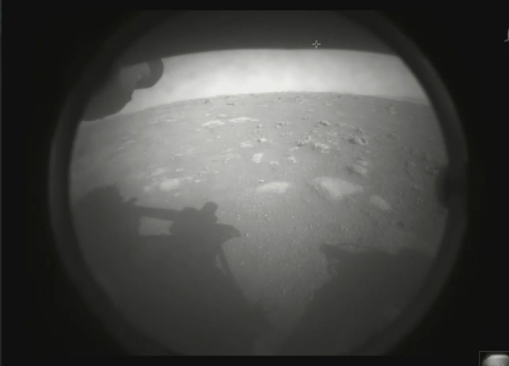 This is the first image taken by the NASA Perseverance rover on February 18, 2021 from its landing site. Image Credit: NASA/JPL-Caltech