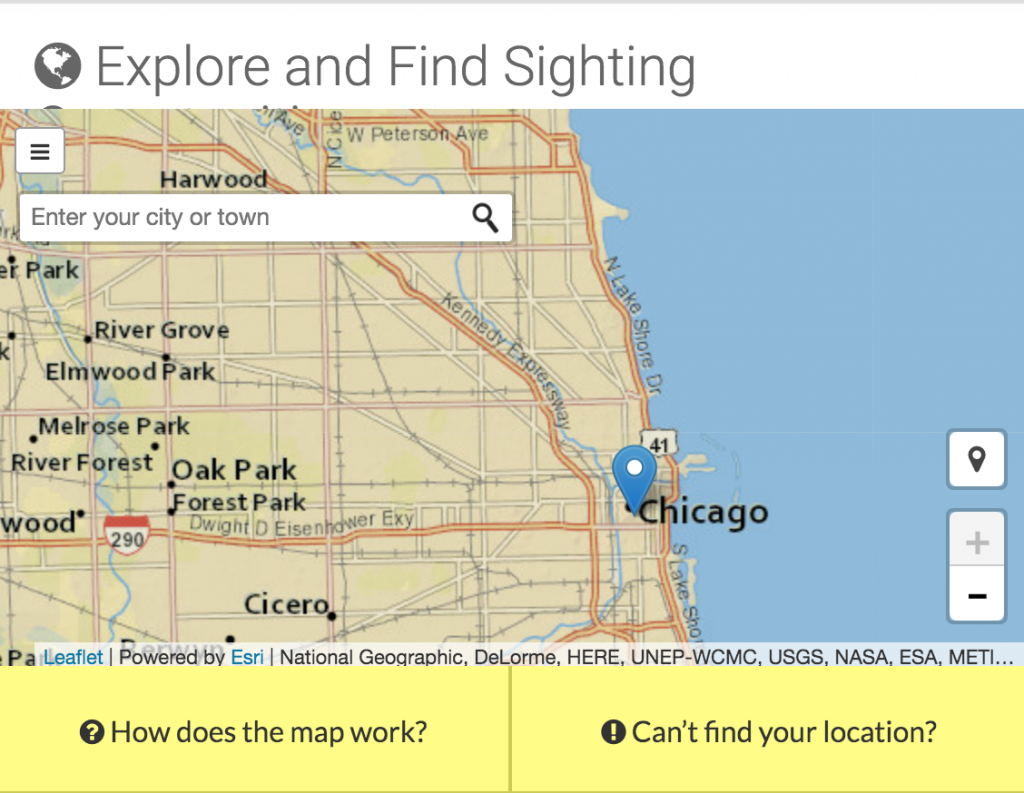 Explore and Find Sighting map showing the Chicago area.