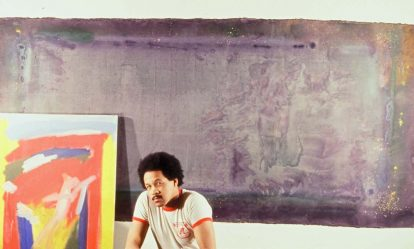 Image: Frederick J. Brown with two of his works, late 1970s (courtesy of the Frederick J. Brown Trust).