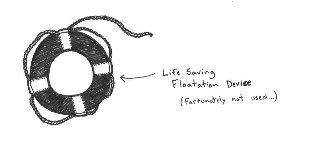 Sketch of a water flotation device - that thankfully was not used!