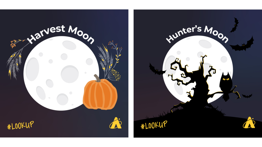 October 2020 has two Full Moons. The left image depicts the first Full Moon, the Harvest Moon. The right image depicts the second Full Moon, the Hunter's Moon.