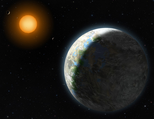 Artist Lynette Cook's concept of the Earth-like exoplanet orbiting red dwarf star Gliese 58.