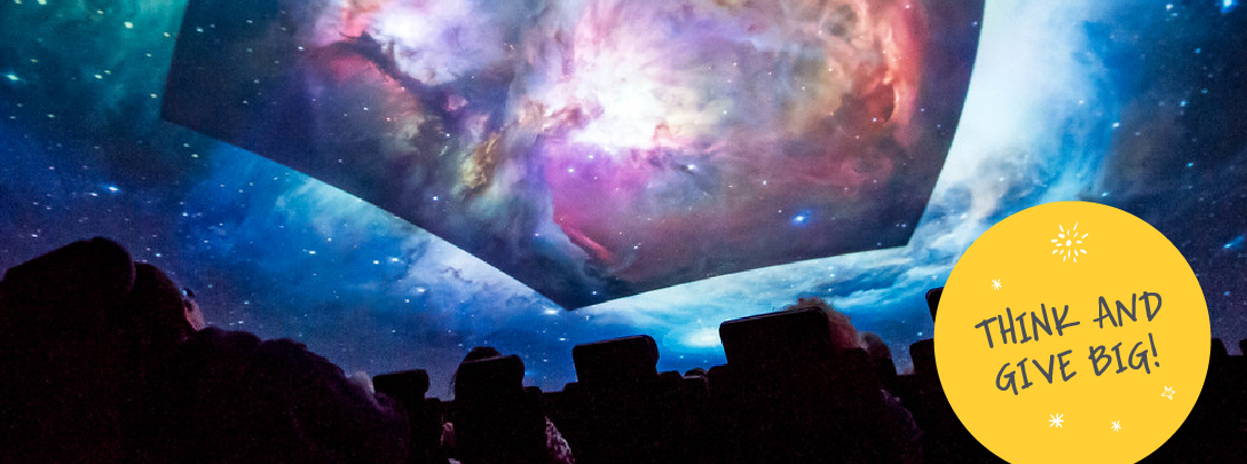 Guest viewing a sky show in the Adler's Definiti Space Theater.
