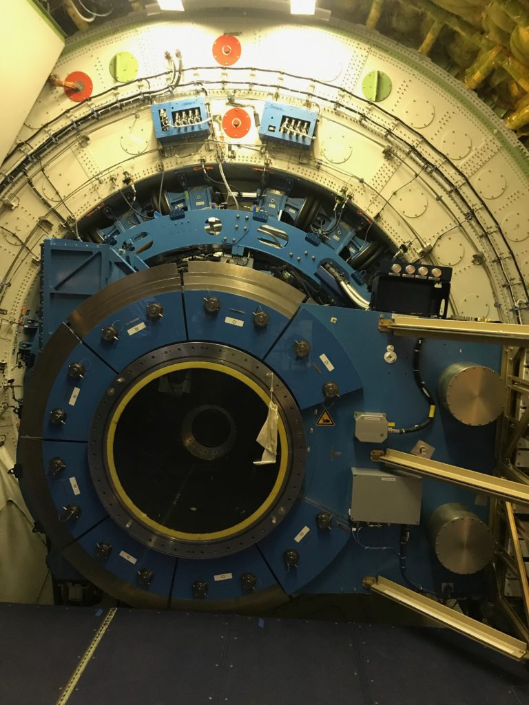 This is the telescope onboard the NASA research aircraft SOFIA, which stands for Stratospheric Observatory for Infrared Astronomy.