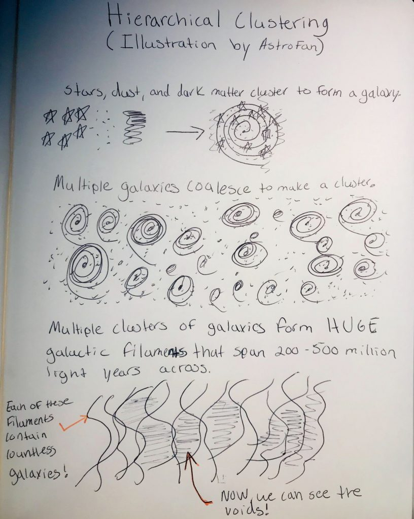 Hierarchical Clustering (Illustration by  AstroFan)Phase 1: Stars, dust, and dark matter cluster to make a Galaxy.Phase 2: Multiple galaxies coalesce to make a cluster.Phase 3: Multiple clusters of galaxies form huge galactic filaments that span 200 - 500 millions light years across. Each filament contains countless galaxies!
