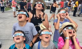 Visitors at the Adler viewing the 2017 eclipse.