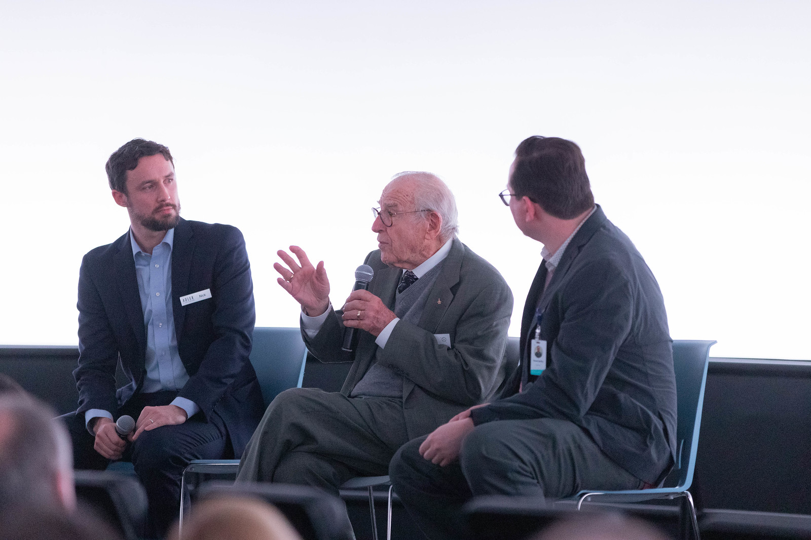 Nick (left) in conversation with Captain James A. Lovell, Jr. (center) for the Adler's Imagine the Moon opening preview.