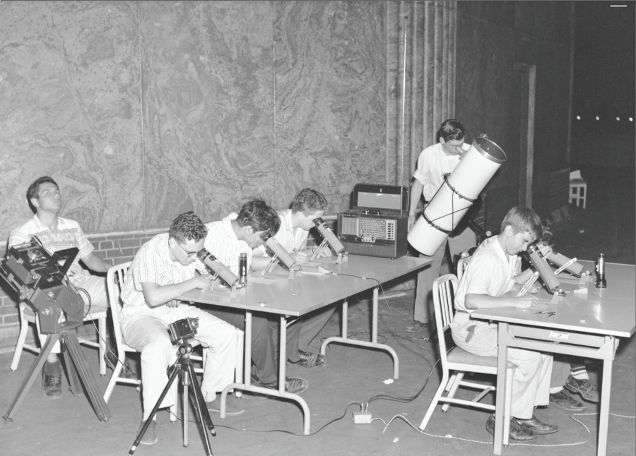 Above: Junior members of CAS observing at the Adler's rooftop in the context of Operation Moonwatch, c. 1957 (Adler Archives)