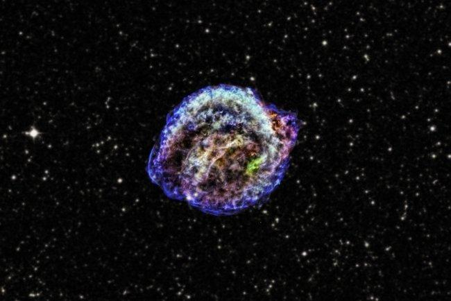 Kepler's supernova remnant, a large and colorful swirl of gas.
