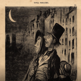 A 19th-century print depicting a family in the streets of Paris contemplating a night sky dominated by a waning Moon.