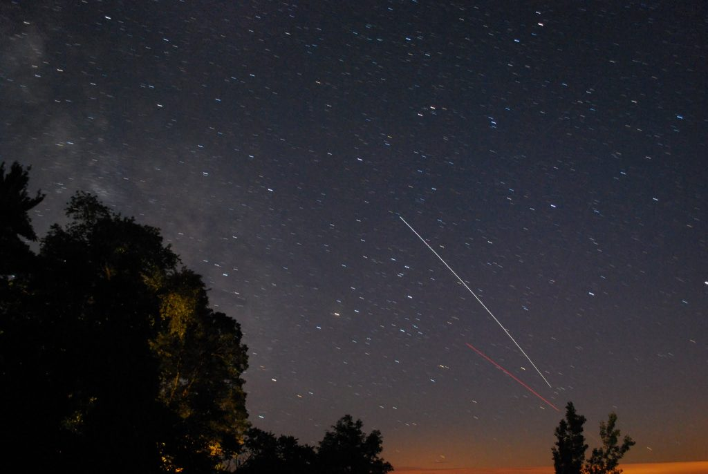 Long exposure shot of the International Space Station taken by Nick Lake on August 4, 2013.