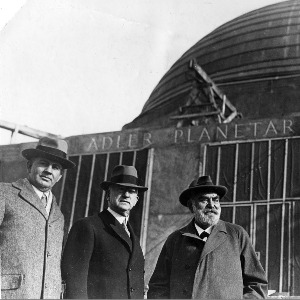 Max Adler, Philip Fox, and a third man standing outside the Adler Planetarium (c.1930s).
