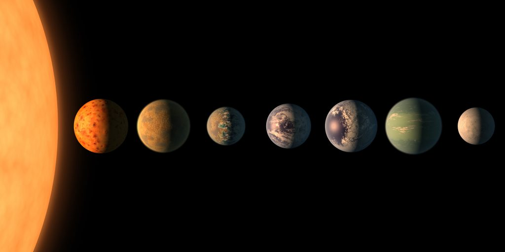 Artists concept of the planetary lineup of TRAPPIST-1.