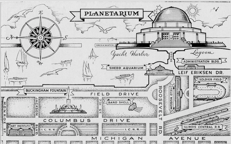 Postcard from the 1930s featuring the Adler Planetarium in what is nowadays known as Chicago Museum Campus. Note the Shedd Aquarium just below, and the Field Museum next to it. (Adler Planetarium Archives).