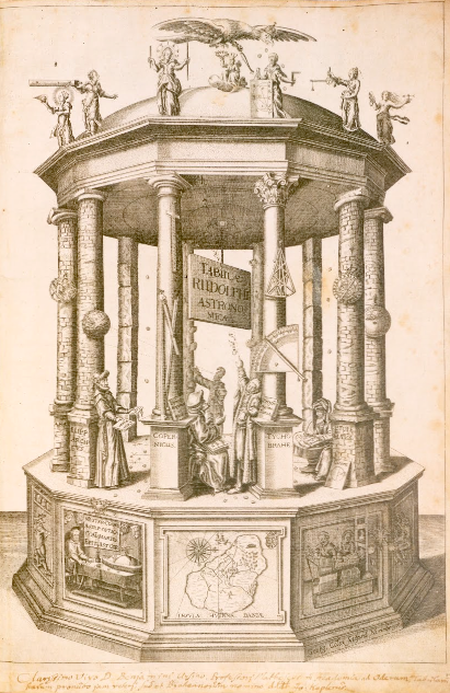 The frontispiece visual code illustration from Johannes Kepler book, Tabulae Rudolphinae.
