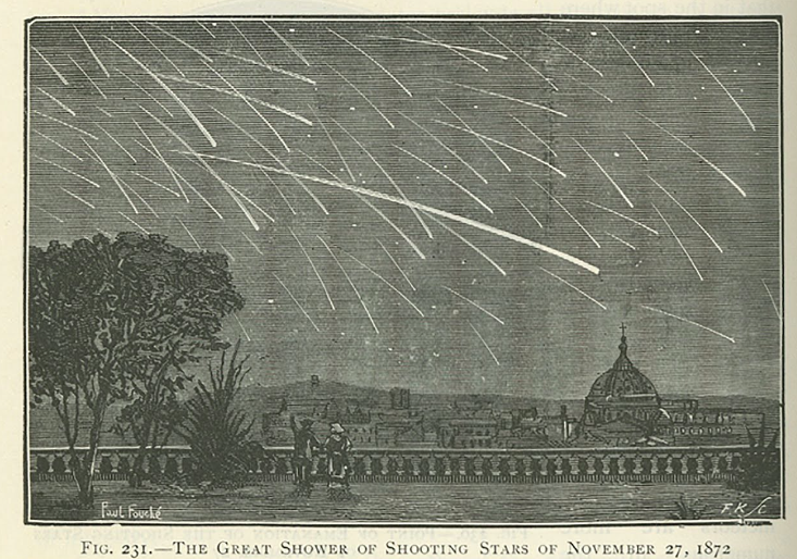 """Drawing of Paris with the Andromedids meteor shower in the sky that has """"Fig. 231.—The Great Shower Of Shooting Stars Of November 27, 1872"""" written along the bottom."""