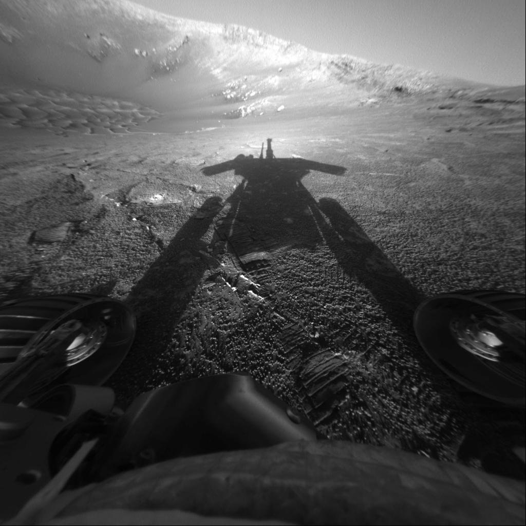 This self-portrait of NASA's Mars Exploration Rover Opportunity comes courtesy of the Sun and the rover's front hazard-avoidance camera. Photo credit: NASA