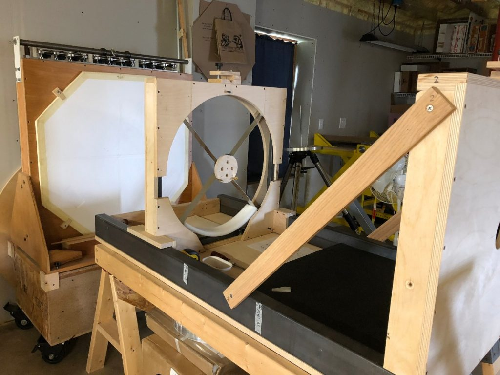 Test stand for mirrors after arriving at Lockwood Custom Optics.