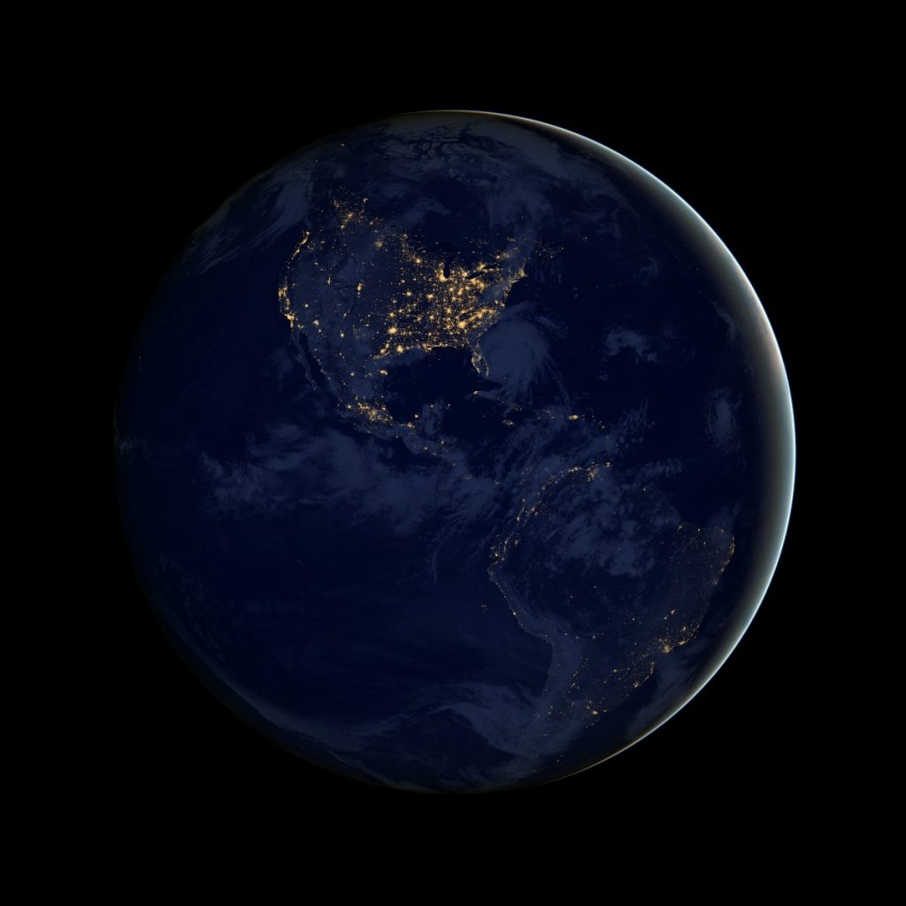 "The Earth as seen at night, aka ""The Black Marble."" Photo Credit: NASA Earth Observatory image by Robert Simmon, using Suomi NPP VIIRS data provided courtesy of Chris Elvidge"