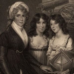 A portrait of 3 young women with neutral expressions, posing in front of a collection of telescopes and other astronomy objects.