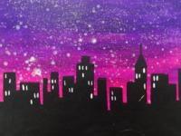 Artwork of the Chicago city skyline.