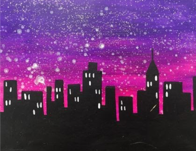 Artwork of the Chicago city skyline.
